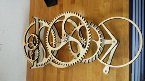 Watch with wood gears made with a badog cnc machine for a wooden watch company
